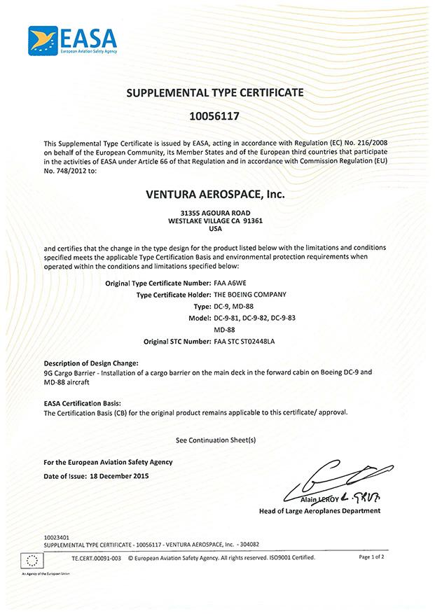 Ventura Aerospace Receives Easa Stc For Md 80 Series Rigid Cargo Barrier